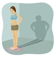 Young woman standing on bathroom scale vector image vector image