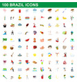 100 brazil icons set cartoon style vector image