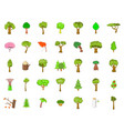 tree icon set cartoon style vector image