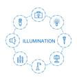 8 illumination icons vector image vector image