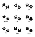 animal paw icons set simple style vector image