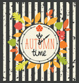 autumn banner with clock and fall leaves vector image vector image