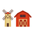 barn and water tower building set vector image