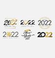 big set of 2022 happy new year logo gold black vector image