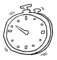 black and white freehand drawn cartoon stopwatch vector image vector image