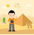 boy travel egypt country holiday summer vector image vector image