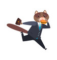 businessman cat running and eating burgeer