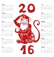 Calendar 2016Chinese zodiac red monkey vector image vector image