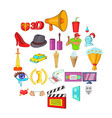 celluloid icons set cartoon style vector image
