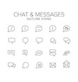 chat and messages line icon set vector image