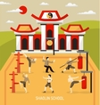 Chinese Temple Martial Arts Composition vector image