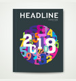 cover annual report number 2018 colorful number vector image vector image