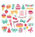 cute birthday sticker party cake greeting vector image vector image