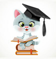 cute cartoon kitten wearing graduate hat read vector image vector image