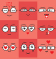 cute coral and red valentines emoji faces set vector image vector image