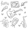doodle music hand draw collection vector image vector image