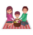 family sitting on blanket picnic with meal basket vector image