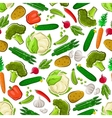 Fresh farm vegetarian food seamless background vector image vector image