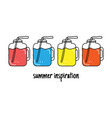 fruit summer smoothie raw cocktail set cartoon vector image