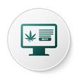green computer monitor and medical marijuana or vector image vector image