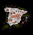 handdrawn map spain vector image