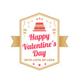 happy valentines day with lots love stamp vector image vector image