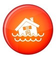 House sinking in a water icon flat style vector image vector image