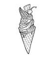 ice cream sketch engraving vector image