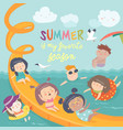 kids playing and enjoying at waterpark in summer vector image