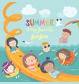 kids playing and enjoying at waterpark in summer vector image vector image