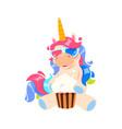 magic cartoon unicorn isolated cute little pony vector image vector image