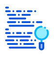 magnifier search code mistake line icon vector image