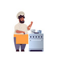 male professional chef cook preparing and tasting vector image vector image