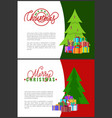 merry christmas lettering inscription invitations vector image vector image