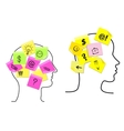 Multitasking man and woman with sticky memos vector image vector image