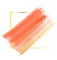 orange watercolor on a golden square frame vector image