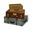 retro suitcases on white background vector image vector image