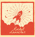 rocket launcher startup rocket retro poster with vector image vector image