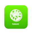 salami icon green vector image