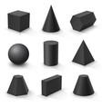 set basic 3d shapes black geometric solids on vector image vector image