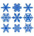 set blue snowflake crystal ice vector image vector image