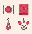 set clown head plate fork and knife vinyl vector image vector image