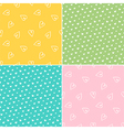 Set collection of seamless patterns with hearts vector image