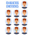 set isolated icons man facial expressions vector image vector image