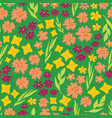 spring flowers seamless repeat pattern vector image vector image
