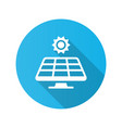 sun and solar panel icon with long shadow vector image