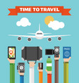 time to travel flat background with hand vector image vector image