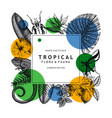 tropical wreath design with geometric elements vector image vector image