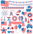 USA celebration flat national symbols set for vector image vector image
