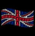 waving british flag mosaic of buddhist monk items vector image vector image